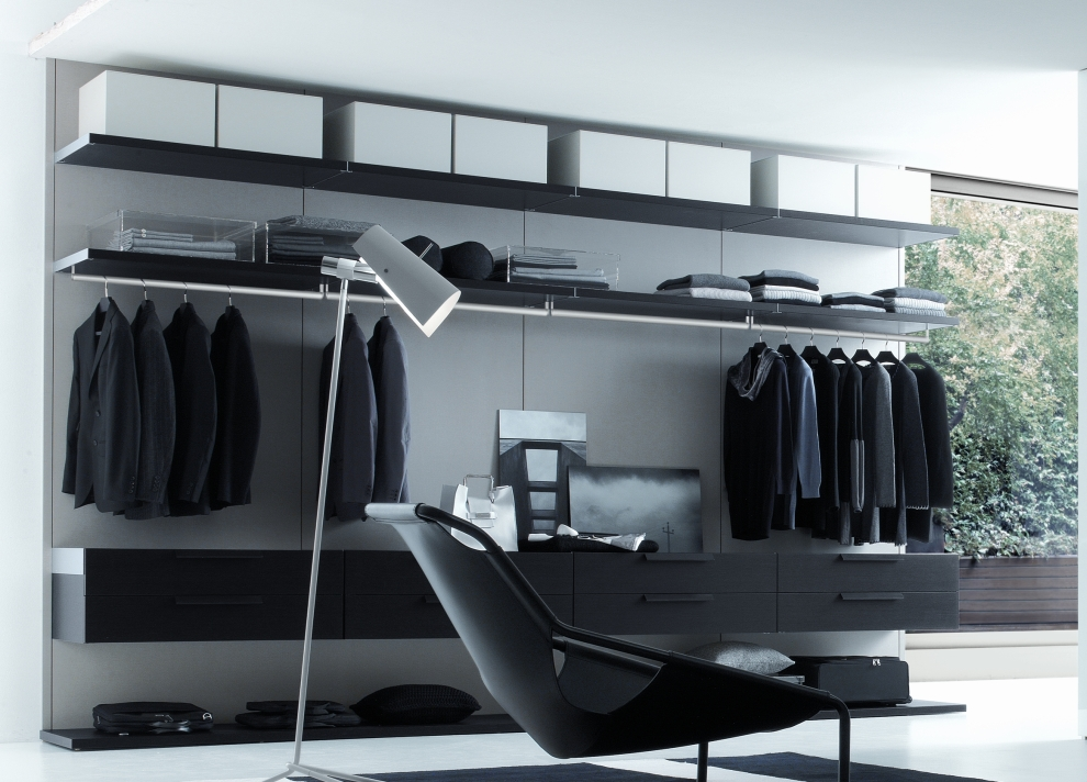 Stunning Walk In Closet Black Designed In Contemporary Flair: Elegant Walk In Closet Black Design Stand Lamp Black Floating Chair