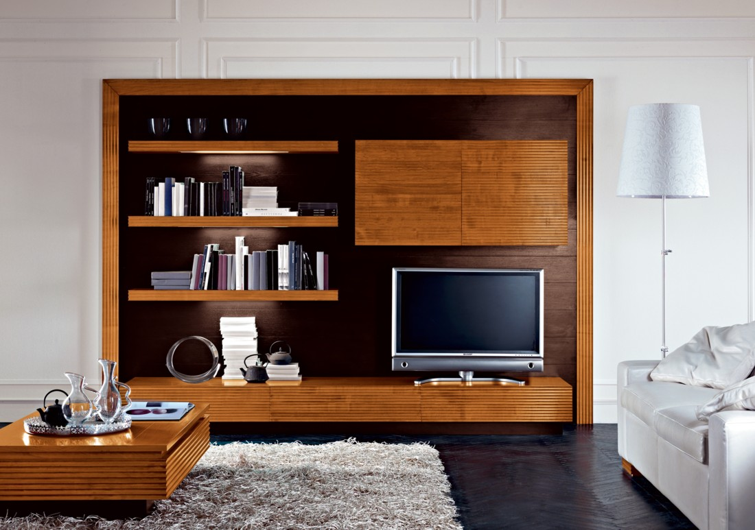 Futuristic TV Unit Design Supplied With Hidden Lights And Bookcase: Elegant Wood TV Unit Design Floating Shelves Box Coffee Table