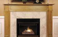 Fireplace Mantel Kits For Your House : Elegant Wooden Ceramic Fireplace Mantel Kits Design With Candles