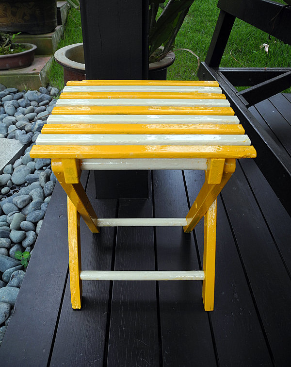 Creative Space Design Modifying Outdoor And Indoor Well: Enamel Paint DIY Project In Yellow White At Dark Porch Wooden