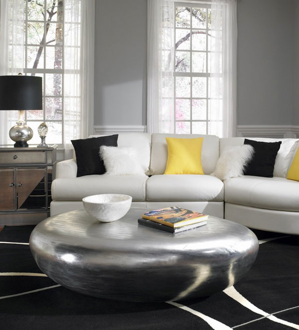 Remarkable Coffee Table Design Concept To Set Attractive Mugs : Epic Living Room Design With Modern Interior Used White Sofa Furniture And Grey Coffee Table