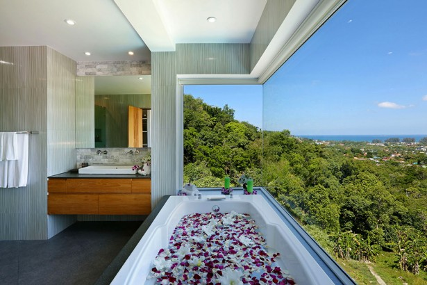 Awesome View Of Natural Villa In Phuket: Epic Villa Beyond Bathroom Interior With Glass Wall Decoration Ideas ~ stevenwardhair.com Villas Inspiration