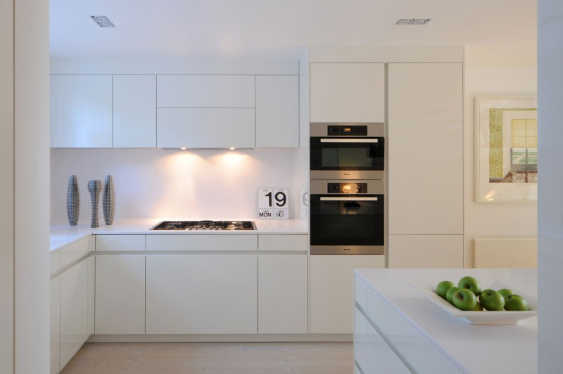 Nice White Interior For Clean And Cozy Look: Ergonomic Kitchen Shelves Inside The Highgate With Modern White Kitchen Furniture