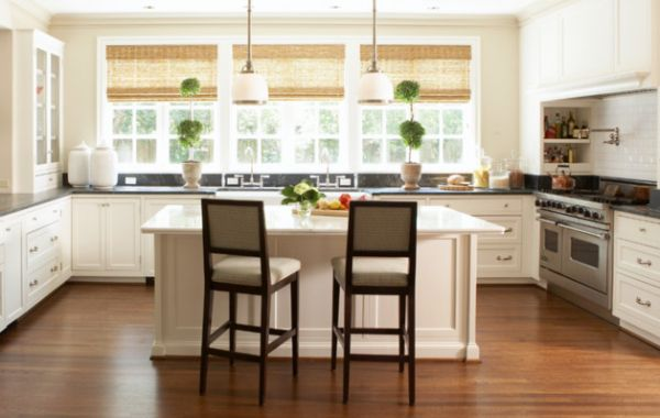 Sensational Bamboo Blinds In Contemporary House: Ergonomic Modern Kitchen With Bamboo Blinds