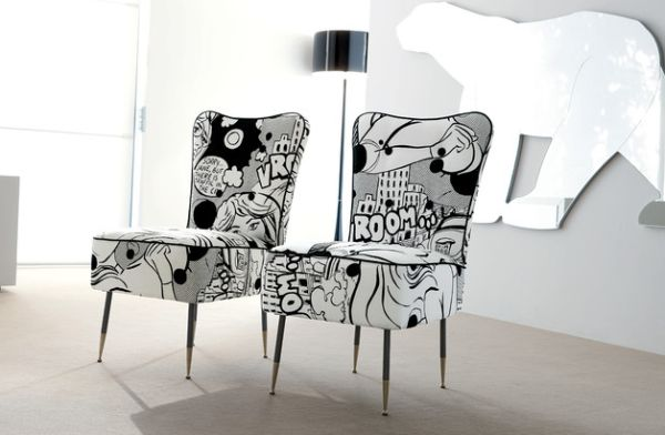 Comic Interior Arranged Artistically With Modern Style : Exciting Black And White Comic Book Upholstery For The Chairs