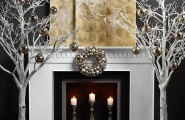 Amazing Fireplace Mantels For Your Best Christmas Ever : Exquisite And Minimalist Christmas Hearth Idea In White And Gold