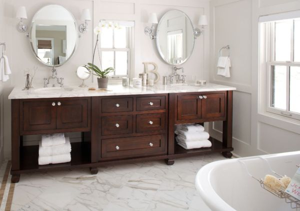 Bathroom Vanity; Personal Taste In Your Bath Room: Exquisite Bathroom Vanity In Dark Tones Complements The Pristine White Backdrop