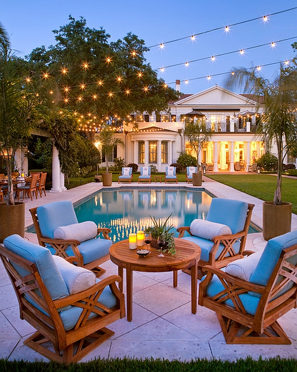 Sparkling String Light To Be Attractive Special Home Decorations : Exquisite Outdoor Space Illuminated With String Lights With Blue Outdoor Furniture Design