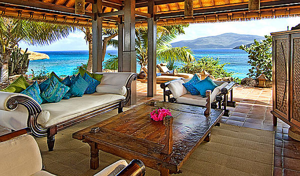 Caribbean Room Bringing Bright Color Design And Style: Exquisite Porch Decor With Rustic Wood Table And Astonishing View