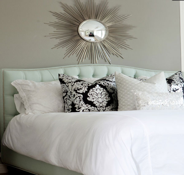 Best Home Decorations Review And Picture: Exquisite Sun Burst Wall Mirror Above The Tufted Headboard