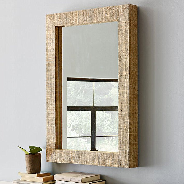 Wonderful Wall Mirror For Stunning Interior Design: Exquisite Wall Mirror With Grass Cloth Frame On Bedroom
