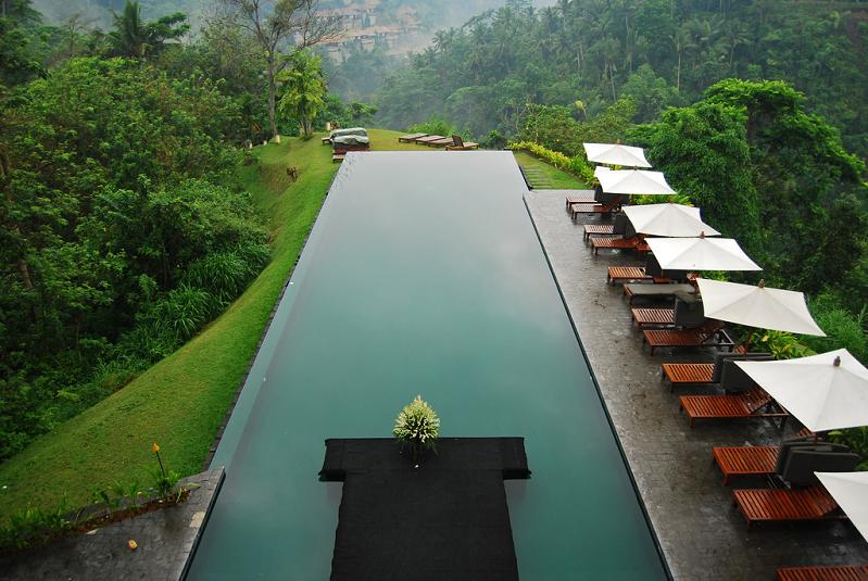 Awesome Large Infinity Pool Of Cool House Surrounded By Leafy Greenery : Extraordinary Large Infinity Pool Natural Green Landscape Design Ideas