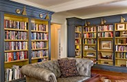 Unique Home Library Design Pictures For Superb Room Performances : Extravagant Gray Bookshelves Home Library Design Pictures Ideas