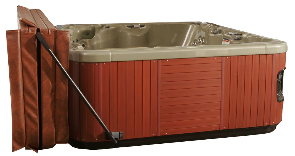 Practical Hot Tub Cover Lift Easy To Open And Close: Extravagant Wooden Style Imitate Hot Tub Cover Lift Off DEsign