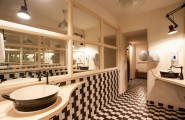 Stylish Coffee Shop Decor Modified Stunningly And Modernly : Fabulous Black And White Bathroom Design With Floating Sink