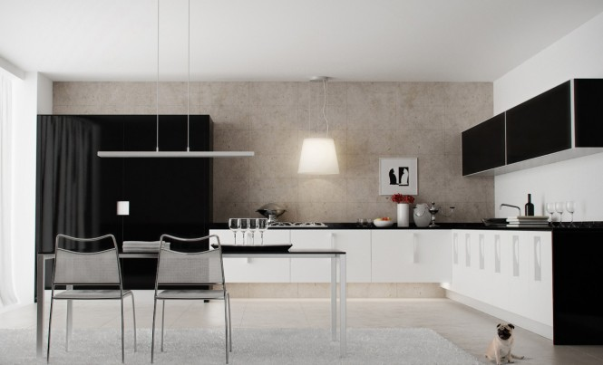 Small Modern Kitchen Design To Show Up The Charming Style : Fabulous Black And White Modern Kitchen Design With Kitchen Table