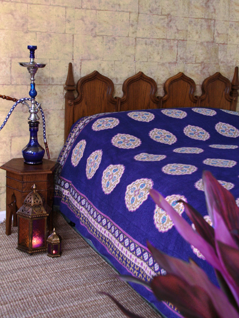 Ethnic Moroccan Bedspread Delivers More Alive And Cheerful Nuance: Fabulous Blue Moroccan Bedspread Design Fascinating Shisha Side Table