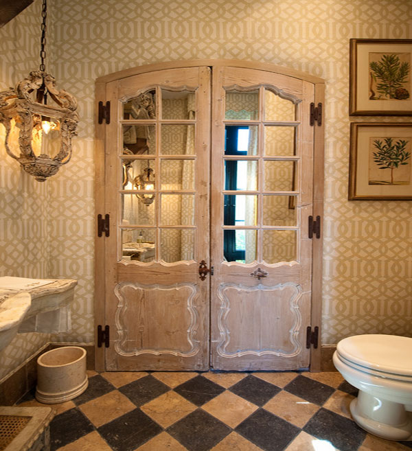 Amazing Entrance Design Ideas For Every Home Design: Fabulous Classic Bathroom With Reclaimed Wood Door And Patterned Wallpaper