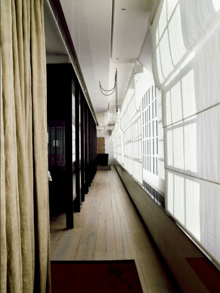 Minimalist Loft Apartment With Savvy Room Separator: Fabulous Corridor Design In Tribeca House Woith Bold Curtain
