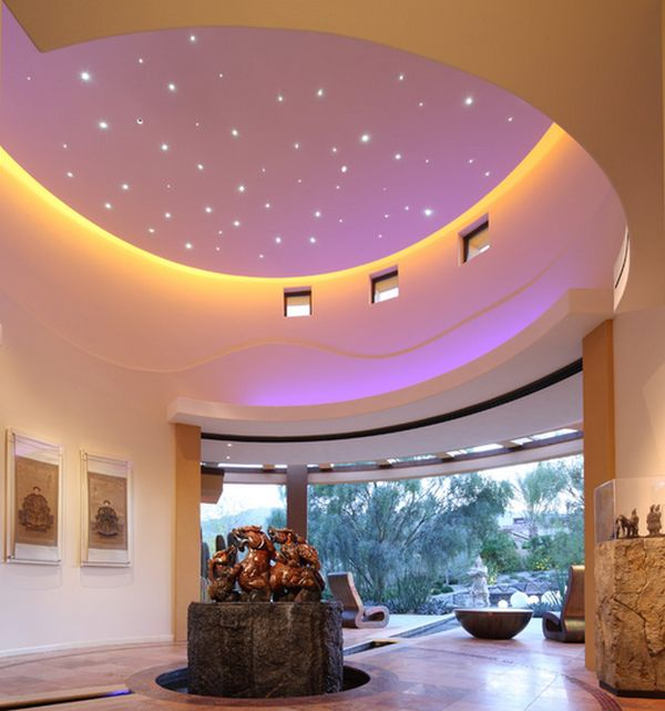 Unique Space Interior For Viavcious Look: Fabulous Entry Way Sports A Ceiling With Evening Sky Effect Interior