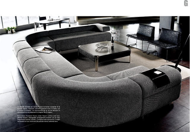 Gorgeous Interior Ideas With Big Sofas: Fabulous Gray Modern Style Big Sofas With Coffee Table