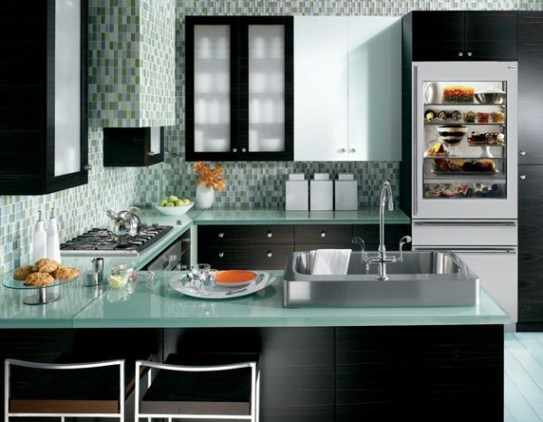 25 Designs Of Glass Door Refrigerators : Fabulous Kitchen In Blue And Green With A 30 Inch Wide Integrated Glass Doo Refrigerator