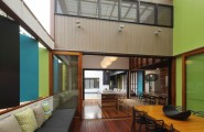Stylish Colorful Theme Idea For Cheerful Atmosphere : Fabulous Lime Green Double Height Wall To Play Against The Wood Floor Interior Project Of Modern Mooloomba House