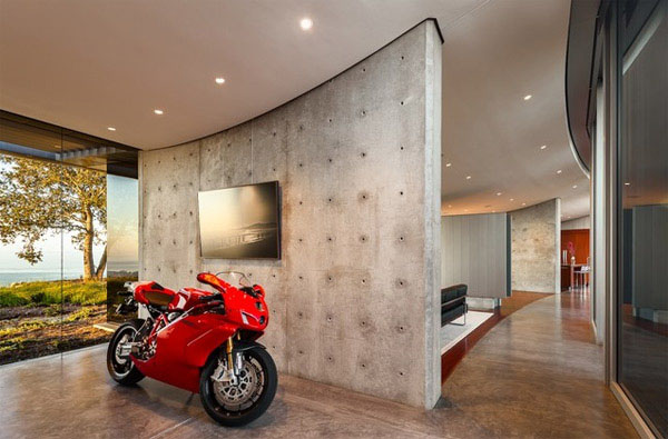 Mesmerizing Motorcycle Display For Gorgeous Decoration Concept: Fabulous Modern Dream Motorcycle Garage With View And Red Sport Bike1