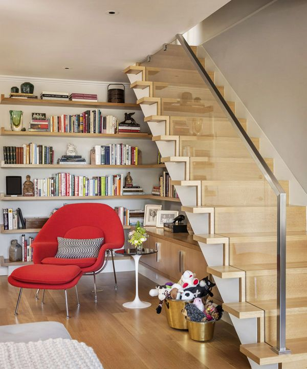 Gorgeous Bookshelf Design For Tidy Room Design: Fabulous Open Bookshelf Design Under The Stairs With Red Chair