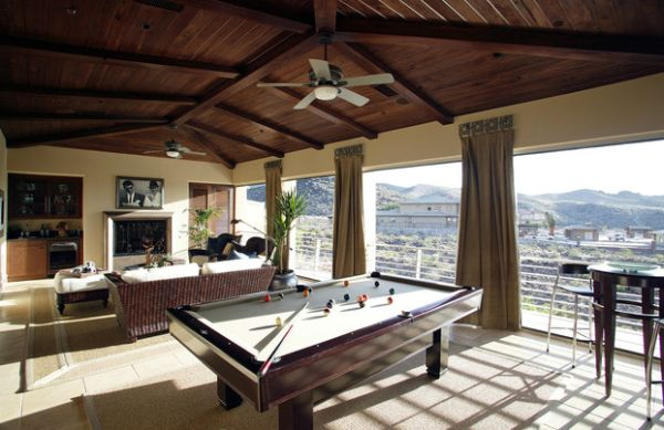 Pleasurable Billiard Room Designs, Decoration And Furniture: Fabulous Open Family Room Decor With View And Billiard Table ~ stevenwardhair.com Interior Design Inspiration