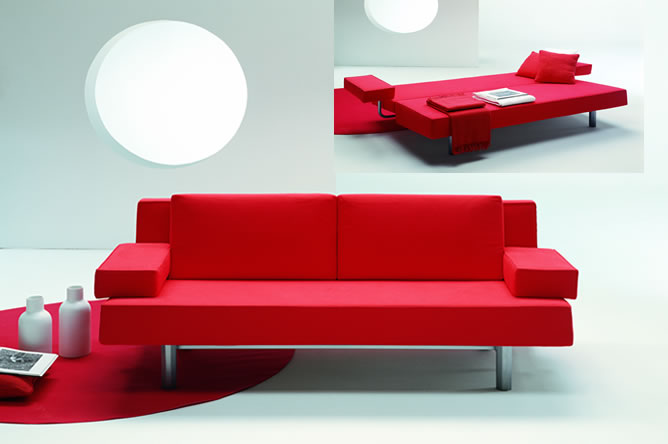 Great Sofa Beds For Small Bedrooms Design : Fabulous Red Modern Metal Frame Sofa Beds For Small Bedrooms Sectional Design