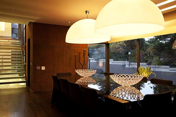 Cool Interior Lighting Design To Glow Up Your Home Interior In Style: Fabulous Upholstered Light Fixture In Large Dining Room