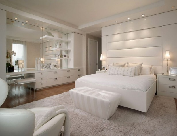 Beautiful Showcase Creating Stylish Interior Impression: Fabulous White Bedding Ideas And Soft Headboard NYC Loft ~ stevenwardhair.com Interior Design Inspiration