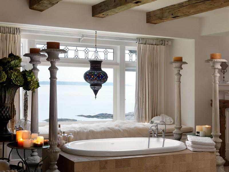 Modern Waterfront House Design With Great Surroundings: Fabulous White Hot Tub And Lake View From The White Framed Windows