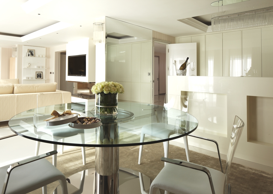 Amazing Designer Interiors; Great Projects : Fake Flower Glass Dining Table Designer Interiors White Side Chairs