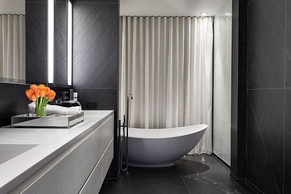 Elegant Grayish House With Modern Interior : Fancy Bathroom Design Montreal
