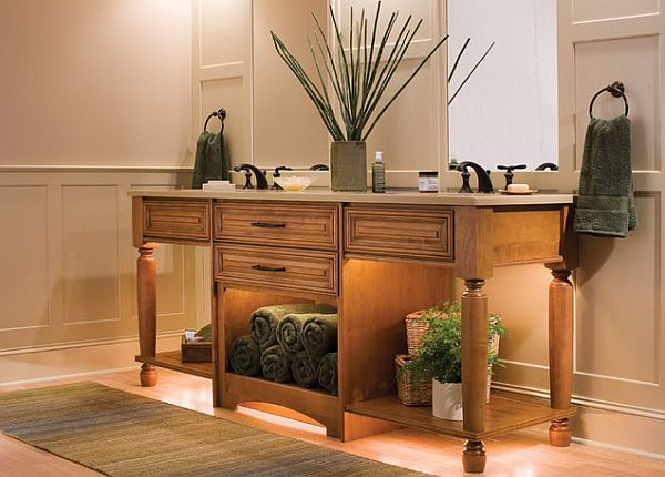 Caribbean Room Bringing Bright Color Design And Style : Fancy Caribbean Style Bathroom WOoden Vanity And Rolling Towels