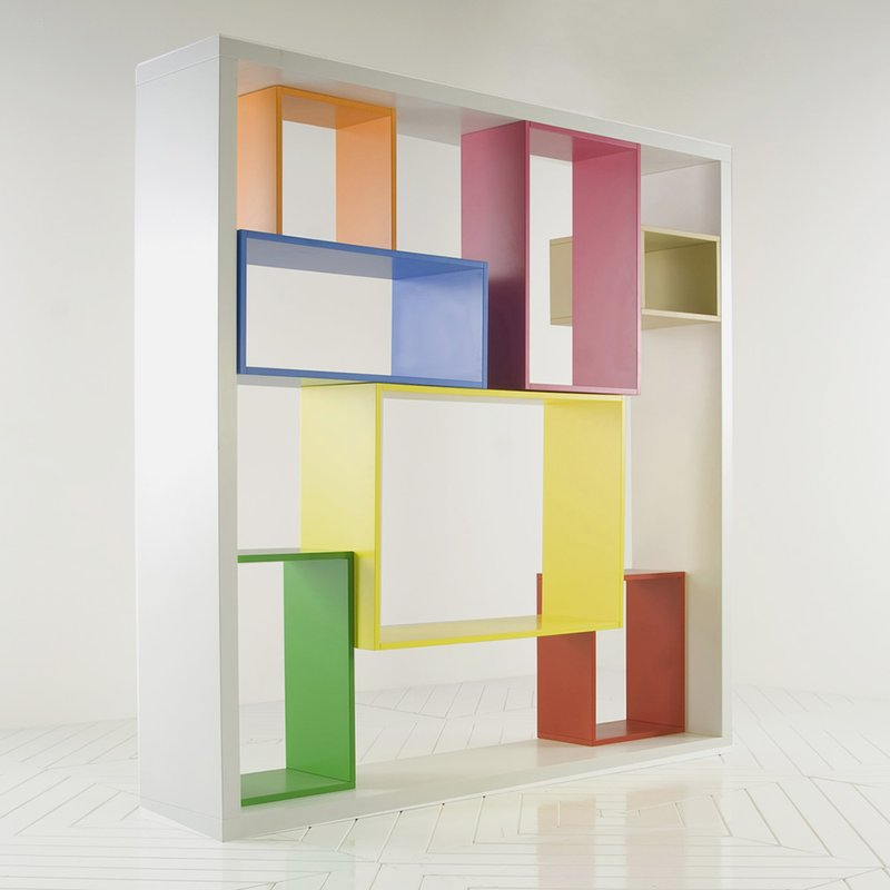 Modular Shelving Units Of Cubit And Grid Wire: Fancy Colorful Bookshelf Modular Shelving Units Modern Interior Furniture