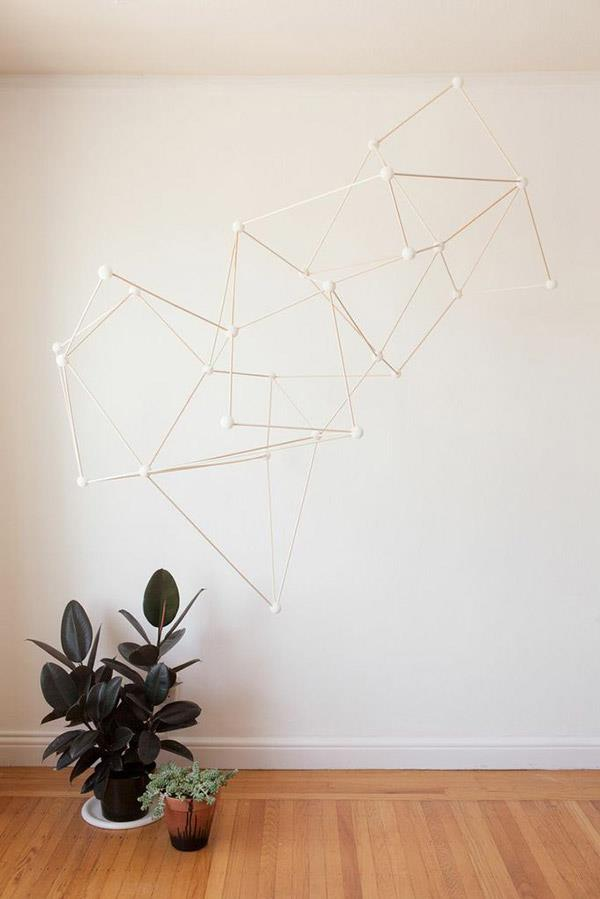 Creative Space Design Modifying Outdoor And Indoor Well: Fancy Geometric Installation On The Hallway With Indoor Planters