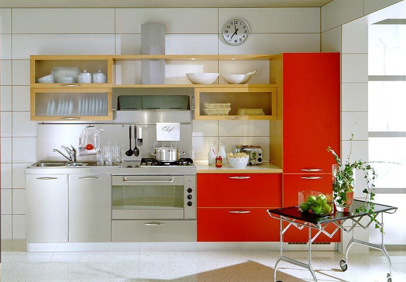Colorful Modern Kitchen Ideas Offer Rare Model Options: Fancy Metal Modern Kitchen Ideas With Orange Accent Mobile Table