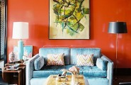 Beautiful Orange Interior Paint To Energize Your Life Every Day! : Fancy Orange Wall At Living Room With Blue Sofa