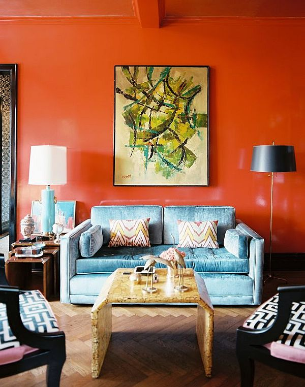 Beautiful Orange Interior Paint To Energize Your Life Every Day!: Fancy Orange Wall At Living Room With Blue Sofa
