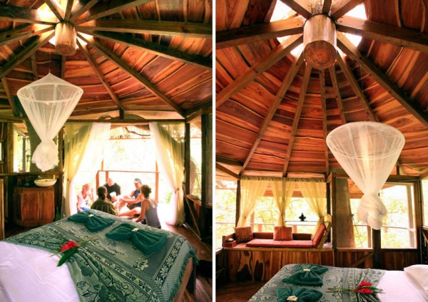 Exceptional Tree House In Tropical Forest Of Costa Rica: Fancy Round Bedroom Design Unique Pendant Light Sustainable Treehouse Community