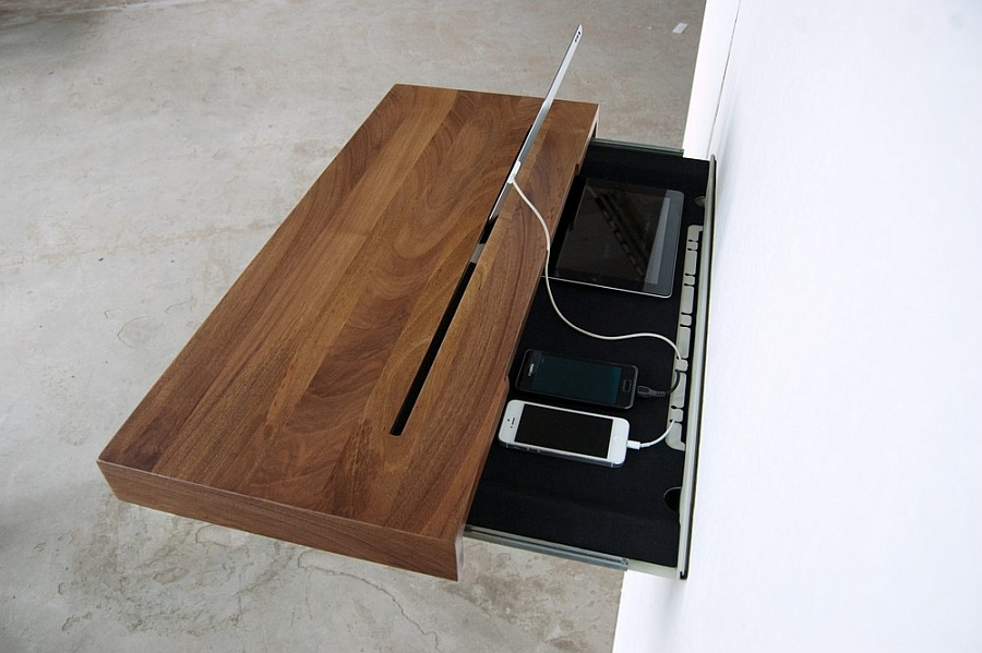Versatile Simple Desk To Manage Your Gadget Cable Mess: Fancy Wall Mounted Charging Shelf For IPhone And IPad