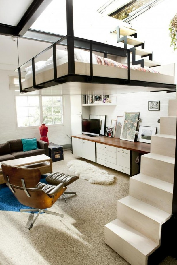 Stunning Space Savng Interior Inspiration From An Apartment In London: Fancy White And Modern Staircase Leading To The Suspended Bedroom ~ stevenwardhair.com Interior Design Inspiration