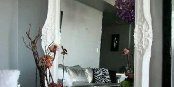 Wall Mirrors For Living Room, A Different Way To Decorate : Fancy White Frame Wall Mirrors For Living Room False Flower