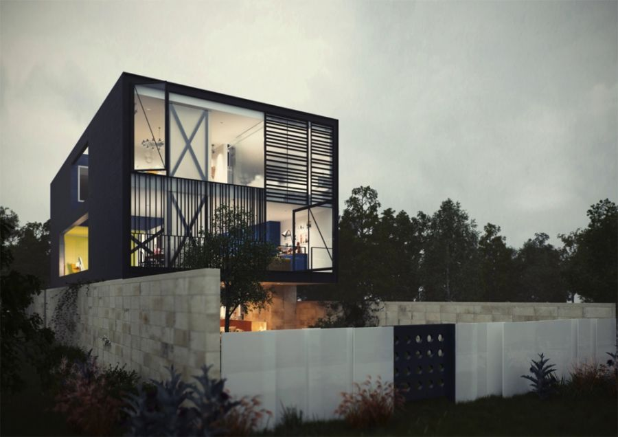 Fascinating Modern House Design Which Has Interesting Idea: Fantastic Conceptualized Street View Of The Glass Box House