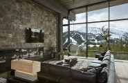 Top Ski Resort With Privacy For A Single Family : Fantastic Fireplace In The Living Room With Mountain View In Modern Interior Design