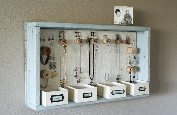Nice Jewelry Organizer That You Can Make By Yourself : Fantastic Hanging Dresser Drawer Jewelry Organizer Design For Home Inspiration
