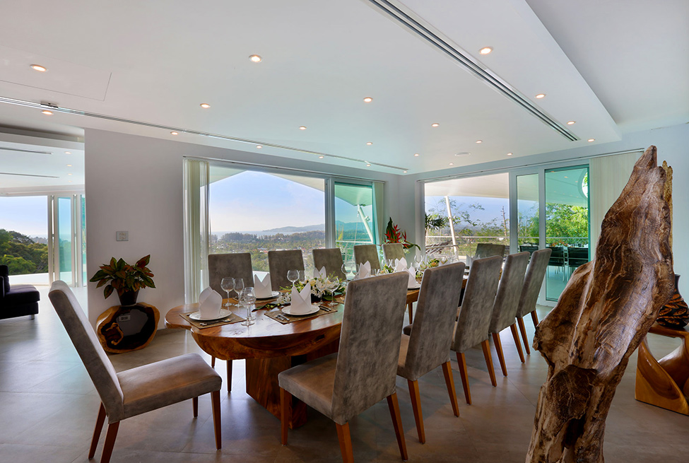 Awesome View Of Natural Villa In Phuket : Fantastic Villa Beyond Dining Room Design With Artistic Furniture Style